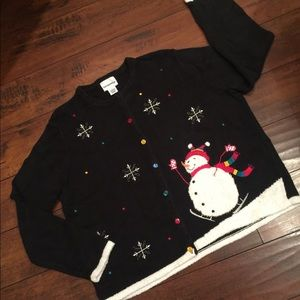 Snowman holiday Ugly Christmas sweater cardigan XL